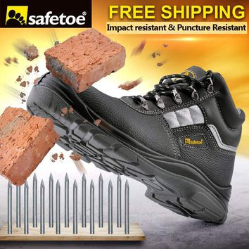 safetoe Safety Shoes Work Boots Men Steel Toe Cap Water Resistant Hiking UK Size 3-13 Anti-Smashing Anti-Puncture S3 SRC