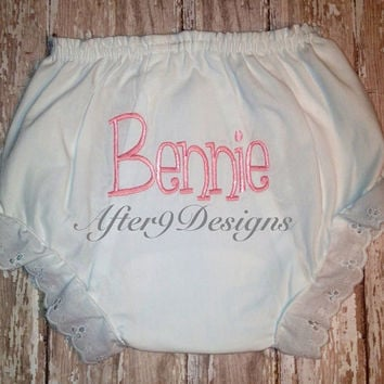 Baby Infant Personalized Bloomers or diaper by AfterNineDesigns