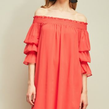 Women's Off Shoulder Chiffon Dress with Tiered Sleeves