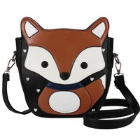 Foxy Fox!  One of a Kind Crossbody Bag With Many Interior Slots For Phone and More!   BROWN