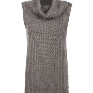 Acacia Sleeveless Cowl Neck Knitted Mini Dress in Grey