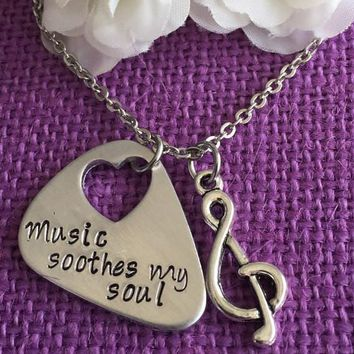 Personalized Guitar Pick Necklace - Guitar Pick - Music Soothes My Soul - Hand Stamped Jewelry - I love music - Personalized Guitar