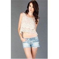 4085BPI Natural All Over Crochet Tank and Womens Fashion Clothing & Shoes - Make Me Chic