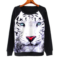 Snow Tiger Animal Face Graphic Print Long Sleeve Black Sweater Sweatshirt Top with Long Sleeves