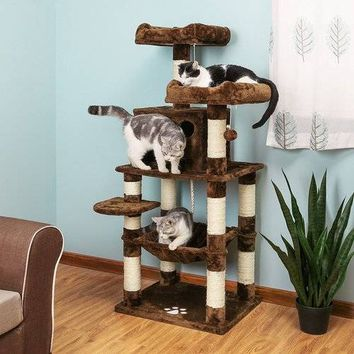 Delicate Cat Scratcher Cat Tree Condo Multi-Level Cat Play House Sisal Scratching Posts Tower Brown Cat Toy Overseas Warehouse