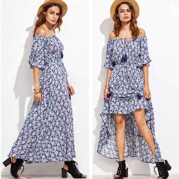 Fashion Retro Floral Print Off Shoulder Middle Sleeve Maxi Dress