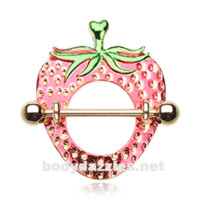 Pair of Golden Cute Strawberry Nipple Shield Ring 14ga