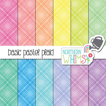 Plaid Digital Paper - diagonal pastel plaid patterns in pink, peach, yellow, mint, blue & lavender - tartan scrapbook paper - commercial use