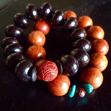Mens bracelet set of two Surfer bracelet Buddhist jewelry for guys Large black wood bead Yoga accessories Unisex asian style Stretch elastic