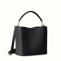 FENDI | ANNA SELLERIA small bucket bag in black leather