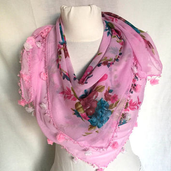 Pink Elegant Scarf Floral Pink Soft Cotton Turkish Scarf Spring Shawl Floral Motifs Valentine's Day Gift Idea For Woman Perfect Gift