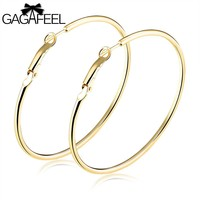 GAGAFEEL Women' Earring Hoop Earrings For Feamle Lady Ear Jewelry Big Round Design Cooper Gold Color S/M/L/XL 4 Size Gifts