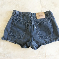 Black High Waisted Levis Jean Shorts Vintage 90s