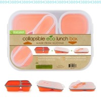 Smart Planet EC-34 Large (48 oz) 3-Compartment Eco Silicone Collapsible Lunch Box, Orange:Amazon:Kitchen & Dining