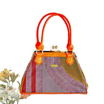 Designer Orange African Print Top Handle  Tote Bag
