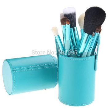 PEAPHY3 12PCS Makeup Brush Set Cosmetic Brushes Tool Kit with Leather Cup Holder Case Green Light Blue Black CS012