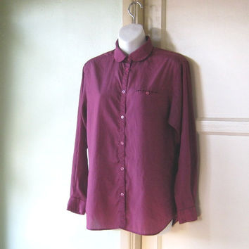 Burgundy Silk Peter Pan Collar Blouse; Medium - Early '80s/Late '70s Office /Date/School Top - Silk or Rayon Claret Blouse; Liz Claiborne