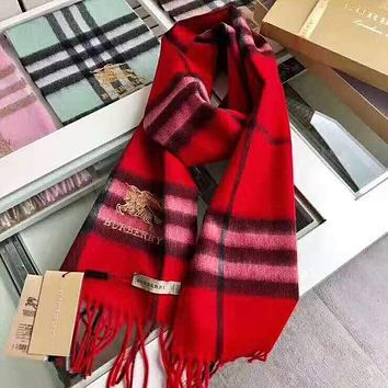 BURBERRY Autumn Winter Stylish Women Men Classic Plaid Cashmere Tassel Scarf Scarves Shawl Red