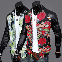 Asian Print Designer Leather Varisty Mens Jacket