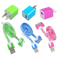 Total 6pcs/Lot! Im Length 3PCS USB Data Charging Cable Cord And 3PCS USB Power Adapter Wall Charger For Iphone 4/4s