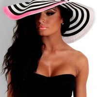 Allsorts Pink Black & White Stripe Oversized Floppy Straw Sun Hat | Pink Boutique