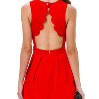 Red Open Back Sleeveless Pleated Dress