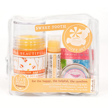 Sweet Tooth Gift Set - All Natural Body Product Gift Set - Lotion, Lip Balms