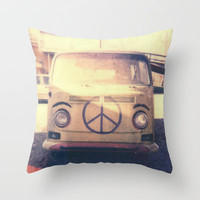 Happy VW Van Polaroid Throw Pillow by Zeke Tucker | Society6