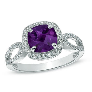 7.0mm Cushion-Cut Amethyst and Lab-Created White Sapphire Ring in Sterling Silver