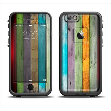 The Vintage Colored Wooden Planks Skin Set for the Apple iPhone 6 LifeProof Fre Case