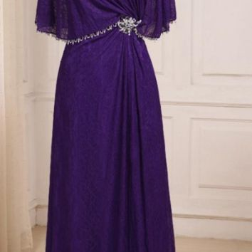 Purple Lace Mother of the Bride Dresses Scoop Neck Floor length Wide-wasted Mother Gowns with Zipper Back