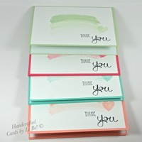 Set of 4 Thank You Handmade Cards Pastel Brush Strokes Ombre Effect