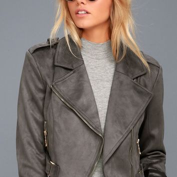 Tree-Lined Road Grey Suede Moto Jacket