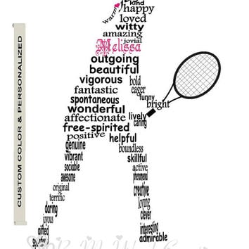 Personalized Girl Tennis Player Art, Unique Handmade Word Art Typography, Tennis Player Word Art, PRINTABLE DIGITAL FILE
