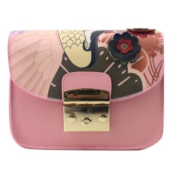 crossbody bags for women ladies Leather Print Floral Pattern Shoulder Bag bolsos mujer#XTJ