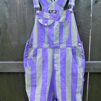 Vintage 1990s Striped Overall Shorts