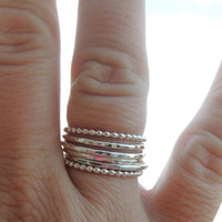 Stacking Rings Set of Six in Sterling Silver // Bohemian hammered ring set // Lovely Layer Silver Set // made to order