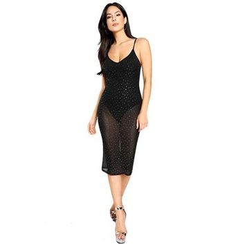 Sleeveless Rhinestone Embellished Dress Women Sexy Sheer Slip Dress