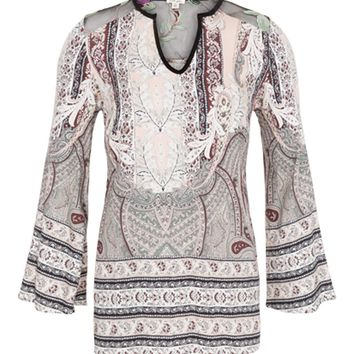Tribal Bell Sleeve Embroidered Back Blouse Petal Pink
