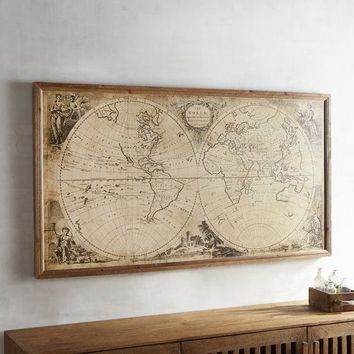 Vintage-Style World Map Framed Wall Decor