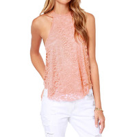 Halter Sleeveless with Back Keyhole Floral Lace Tank Top