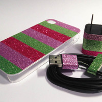 Vera Bradley Inspired iPhone Case, USB Charger and Cord