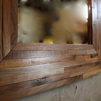 "Reclaimed Black Walnut Butcher Block Parquetry Mirror. 32"" x 32"""