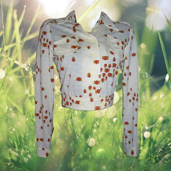 1970s vintage ladybugs eisenhower novelty print cream jacket size small extra xs xxs 2xs