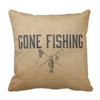 Burlap Vintage Gone Fishing