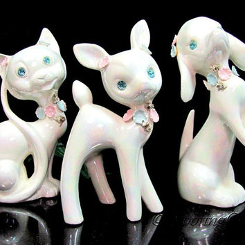 Vintage LEFTON Dog Cat Deer Figurine 3 Rhinestone Eyes Sparkler MOP Pearl Glaze