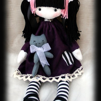 Veronika emo goth cloth doll with skulls and zombie cat friend handmade OOAK