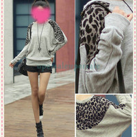 New Fashion Womens Batwing Tops Long Sleeve Casual Blouse Leopard Print T-Shirt