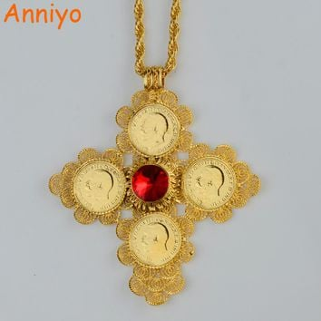 Anniyo Ethiopian Big Cross Pendants Necklaces Women/Men Gold Color Jewelry Africa Coin Cross/Eritrea Habesha Necklace #044202