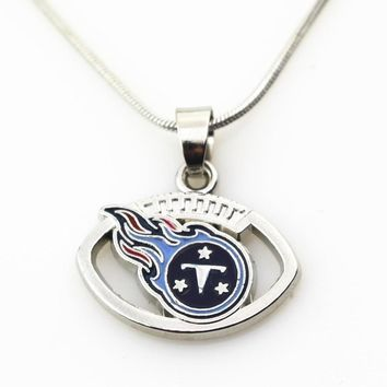 New Arrival 10pcs/lot Tennessee Titans Football Team Necklace Pendant Jewelry With 45+5cm Snake Chains DIY Jewelry Charms